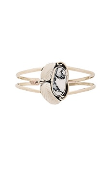 Natalie B Jewelry Two Raven Mini Cuff in Silver & White Marble