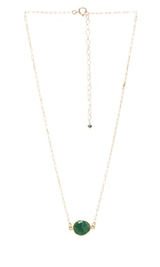 Natalie B Stone Drop Necklace in Emerald