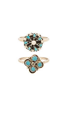 Natalie B Jewelry Cactus Clover & Mini Blossom Ring Set in Silver
