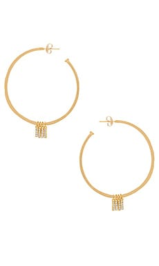 x REVOLVE Manhattan Hoop Earrings in Gold & Pave