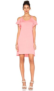 Nation LTD Cassandra Cold Shoulder Dress in Guava
