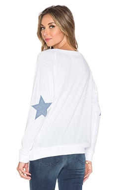 Nation LTD Star Raglan Sweatshirt in White & Blue