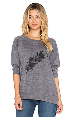 Nation LTD Feather Raglan Sweatshirt in Heather Grey