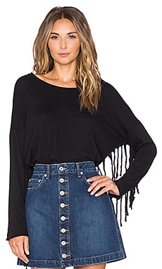 Nation LTD Priscilla Fringe Sweatshirt in Black