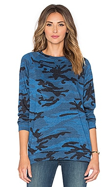 Nation LTD Camo Raglan Sweatshirt in Blue Camo