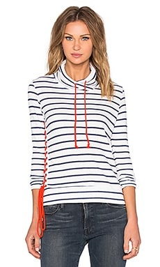 Alexis Lace Up Sweatshirt in White & Blue Stripe