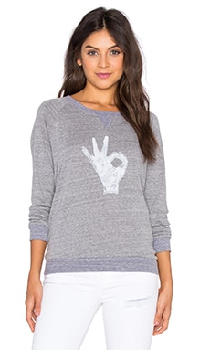 Nation LTD OK Raglan Sweatshirt in Heather Grey