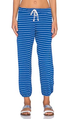 Nation LTD Hamptons Stipe Medora Capri Sweatpant in Flag Blue