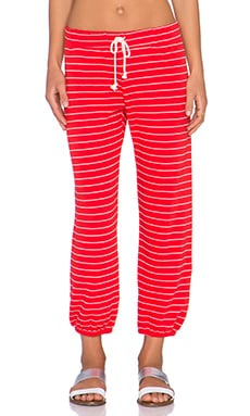 Nation LTD Hamptons Stripe Medora Capri Sweatpant in Flag Red