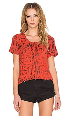 Nation LTD Madera Tiger Print Tee in Hot Coral