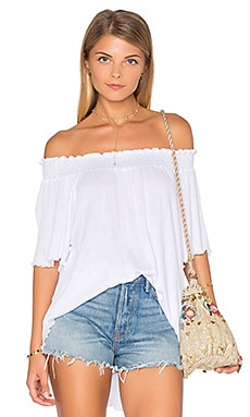 Nation LTD Lu Smocked Top in White