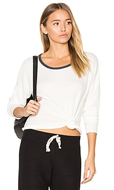 Noelle Crop Tee in Winter White & Charcoal