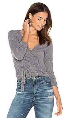 Juliette Wrap Top in Heather Grey
