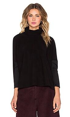 NATIVE STRANGER Drapy Turtleneck Sweater in Black