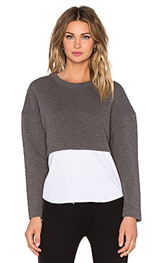 NATIVE STRANGER Two Piece Quilted Sweater Top in Grey & White