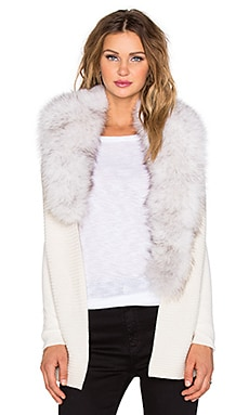 NATIVE STRANGER Removable Saga Fox Fur Collar Cardigan in Off White