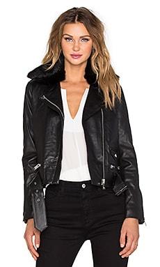NATIVE STRANGER Belted Leather Biker Jacket with Dyed Rabbit Fur Collar in Black