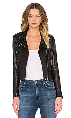 NATIVE STRANGER Leather Biker Jacket in Black