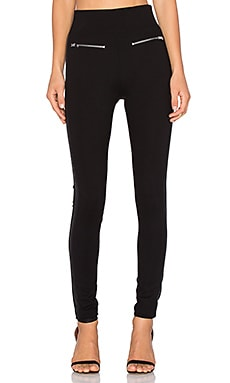 NATIVE STRANGER Leather Panel Legging in Black