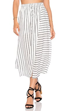 NATIVE STRANGER Elastic Waist Wrapped Skirt in White Stripes