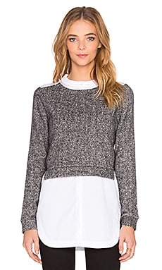 NATIVE STRANGER Two Piece Sweater Top in Pepper Grey