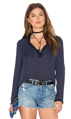 NATIVE STRANGER Silk Blouse in Navy