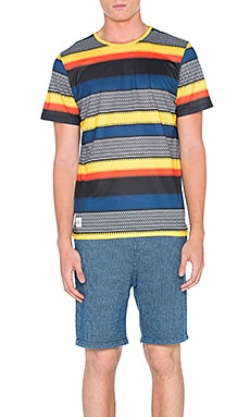 Native Youth Heatwave Stripe Tee in Navy & Yellow