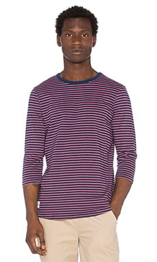 Native Youth Contrast Breton Tee in Navy & Red