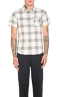 Herringbone Check Shirt in Off White & Black