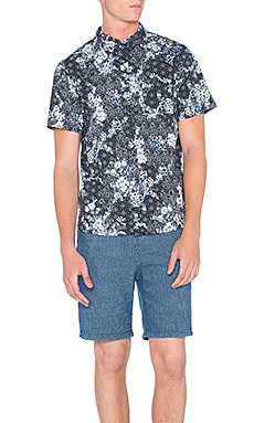 Native Youth Floral Sashiko Shirt in Black