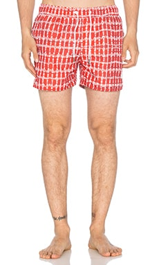 Native Youth Shibori Gingham Swim in Blood Orange