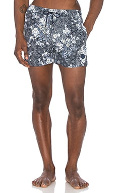 Native Youth Floral Sashiko Swim in Navy