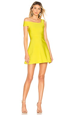 Купить Облегающее сверху платье-мини с широким низом maddy - NBD, С одним плечом, Китай, Желтый