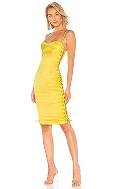 Купить Миди платье на шнуровке jasmine - NBD желтого цвета