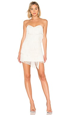 Купить Мини платье с бахромой leanne - NBD белого цвета