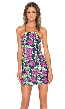 NBD Go Getter Lace Up Dress in Navy Floral