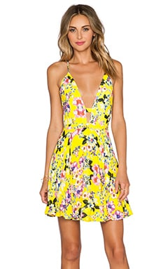 x Naven Twins Everytime Skater Dress in Canary Floral