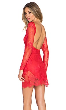 NBD Feelings Lace Dress in Red