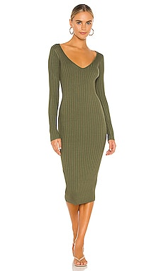 Bekah Deep V Midi Dress NBD $140