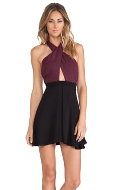 NBD Don't Cross Me Dress in Dark Purple & Black