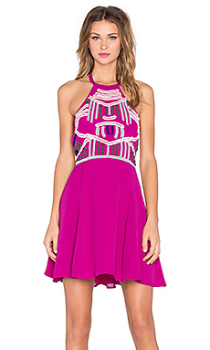 x Naven Twins Flirty Girl Skater Dress in Berry