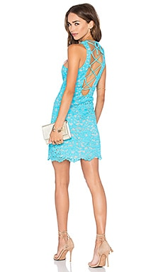 NBD x Naven Twins Headspins Laced Back Mini Dress in Turquoise Lace