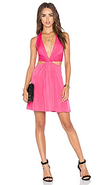 NBD x Naven Twins Vava Twisting V Neck Dress in Rose Pink