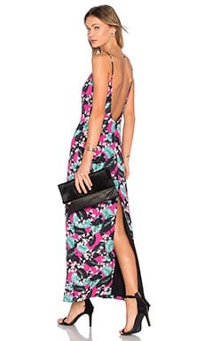 x Naven Twins Tropical Plunge Maxi Dress in Pink Tropical Floral