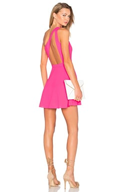 X Naven Twins Zip Me Up One Shoulder Dress in Fucshia