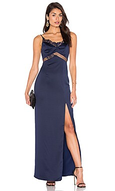 x REVOLVE Saint Gown in Navy & Black Lace