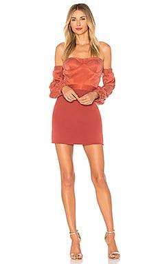 Купить Мини-платье с открытыми плечами sandy - NBD цвет ржавый