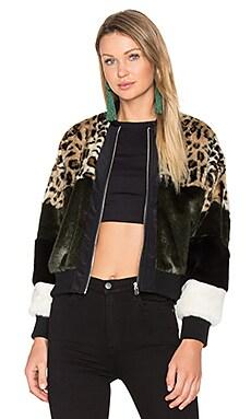 x REVOLVE Bonita Faux Fur Bomber in Leopard