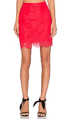 NBD Fever Lace Skirt in Red