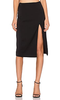 NBD Cross Your Mind Midi Skirt in Black